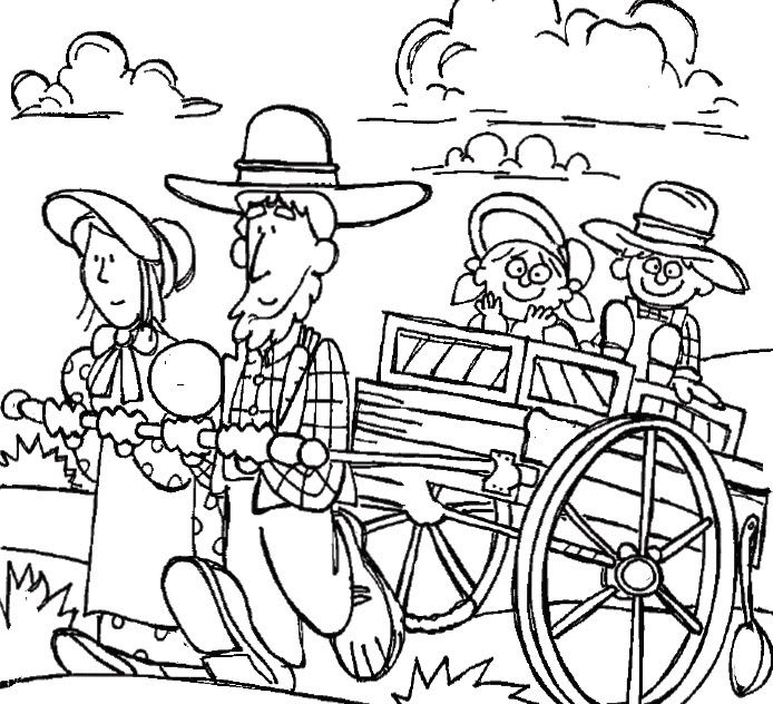 694x632 Covered Wagon Campsite Coloring Page Conestoga Wagon Coloring Page