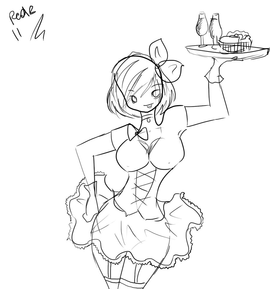 900x964 Sexy Waitress By Redmoon11