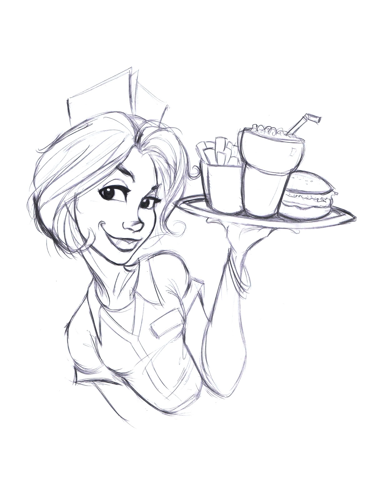 1236x1600 Tali's Diner Waitress Sketch And Colors