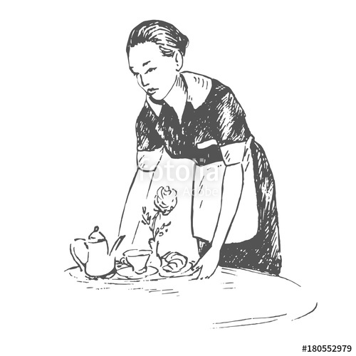 500x500 Waitress Putting Tray On The Table With Breakfast, Hand Drawn