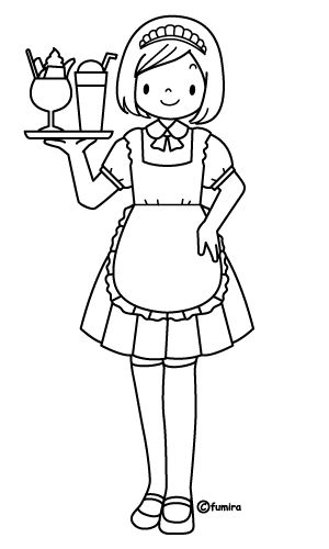 300x500 Waitress Free Coloring Pages Coloring Pages