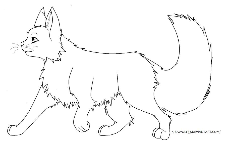 900x586 Cat Walking Lineart By Kibawolf33