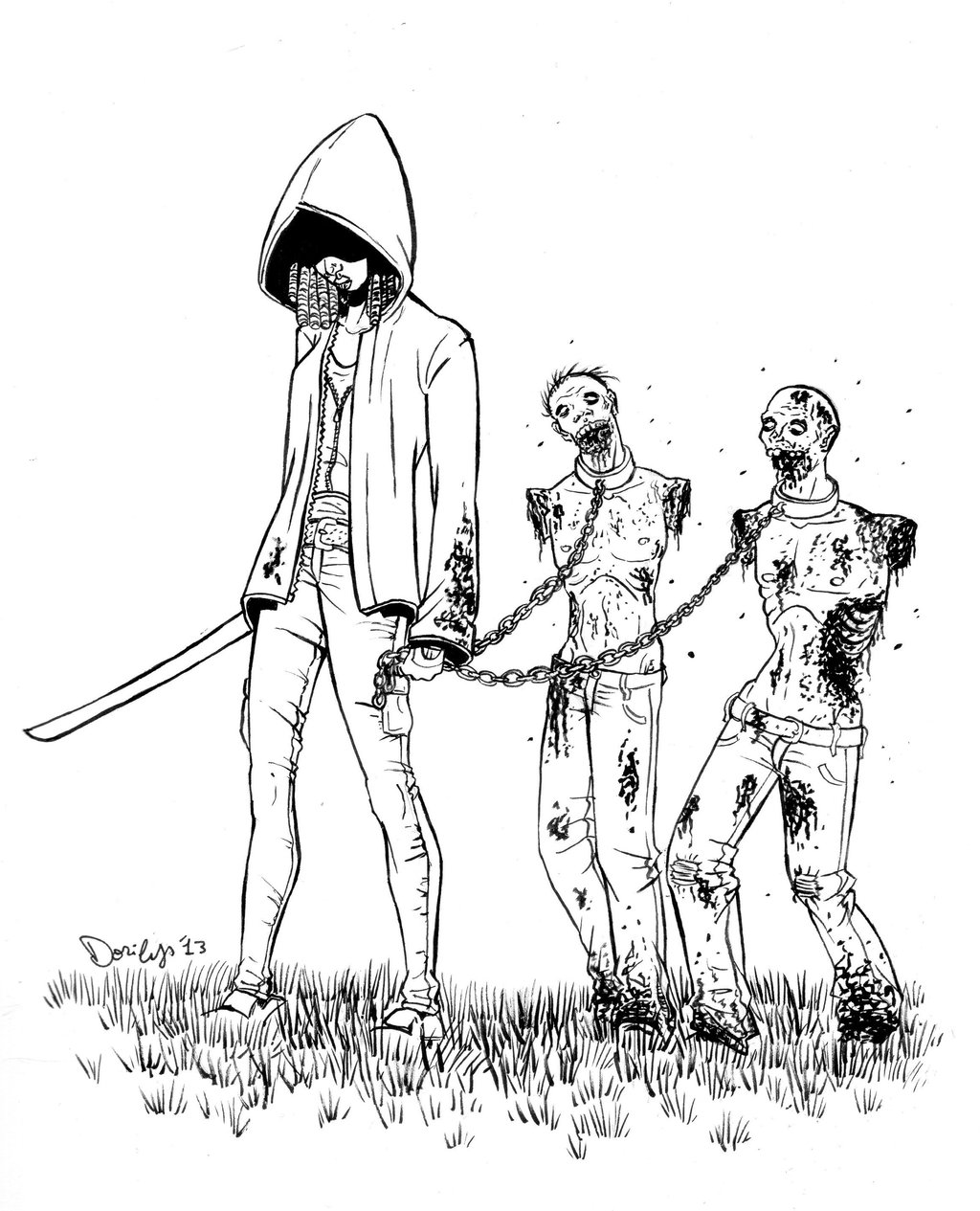 1024x1265 Michonne Coloring Page The Walking Dead Walking