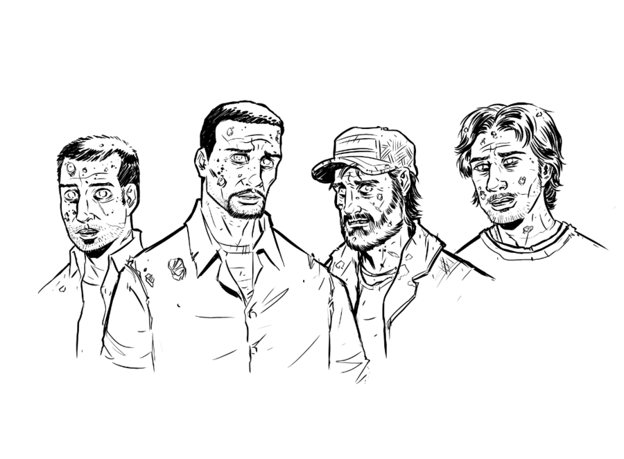 900x662 Walking Dead Zombie Omid, Lee, Kenny, And Luke By Kr Whalen