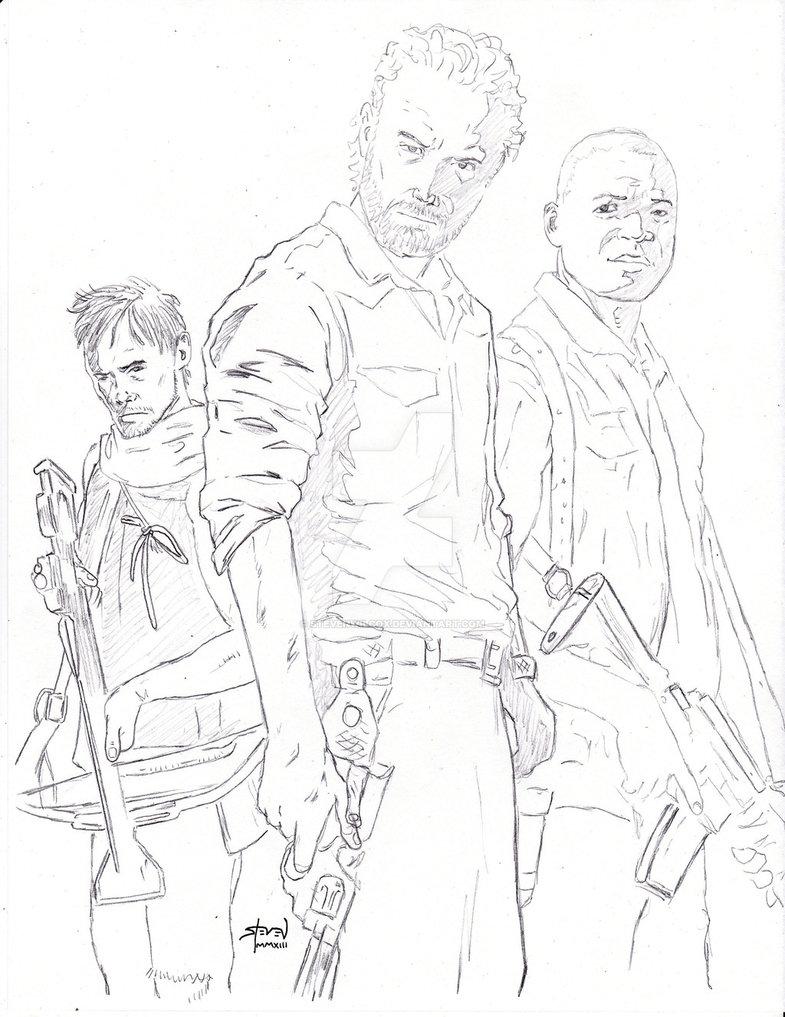 785x1017 Walking Dead Daryl, Rick And Bob