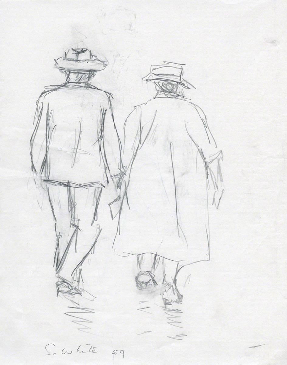 944x1200 Couple Walking 1959 Pencil 25 X 20 Cm By Susan Dorothea White
