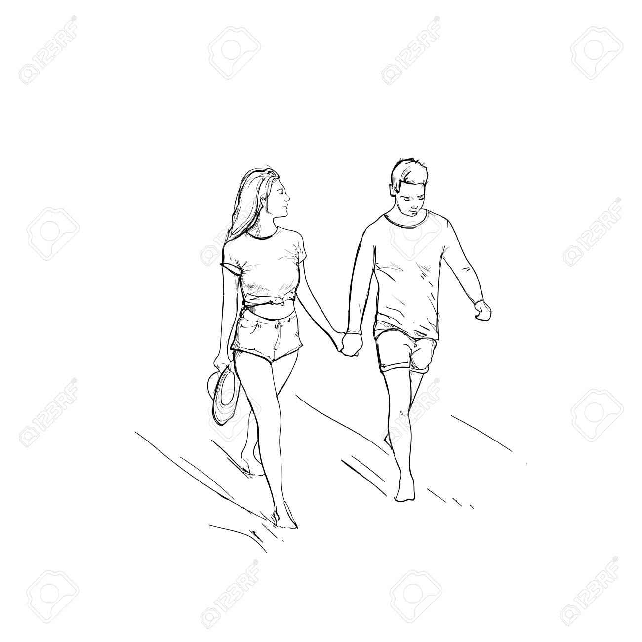 1300x1300 Romantic Couple Hold Hand Walking Man And Woman Sketch Vector