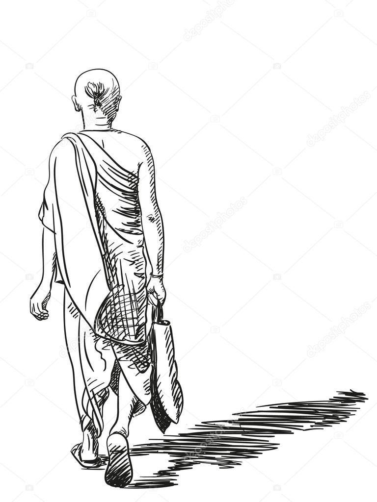768x1024 Walking Brahmin Man Stock Vector Olgatropinina