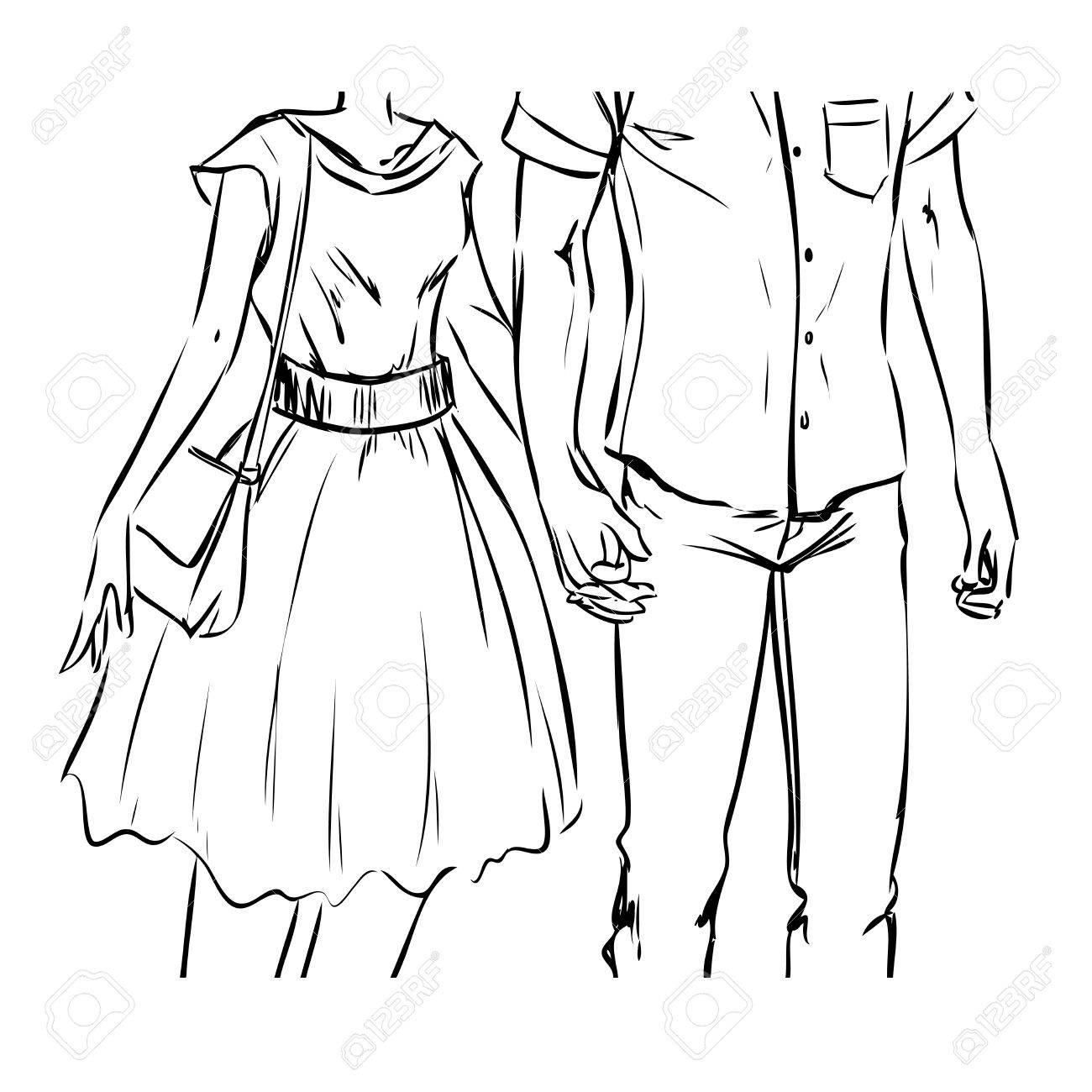 1300x1300 Young Modern Couple Are On A Date. Man And Woman Walk And Hold