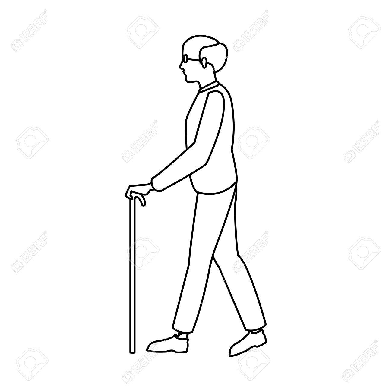 1300x1300 Bald Man Elderly Walking With Cane Stick Outline Vector