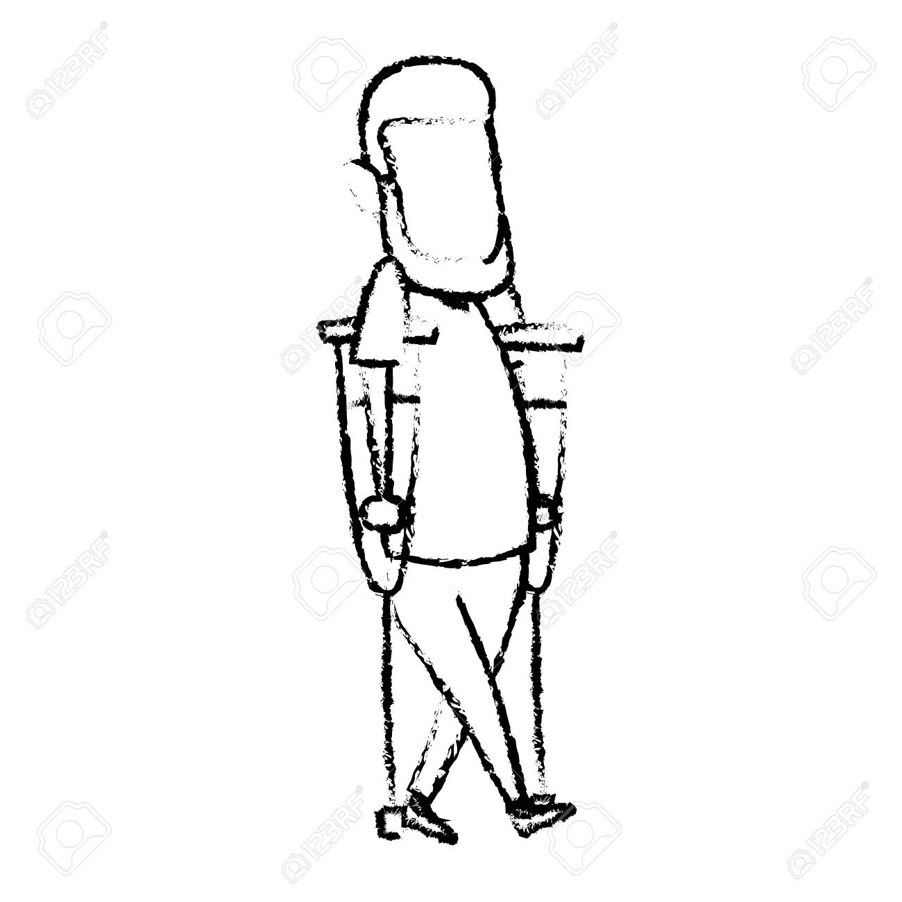 1300x1300 Cartoon Man Disability Walking On Crutches Vector Illustration