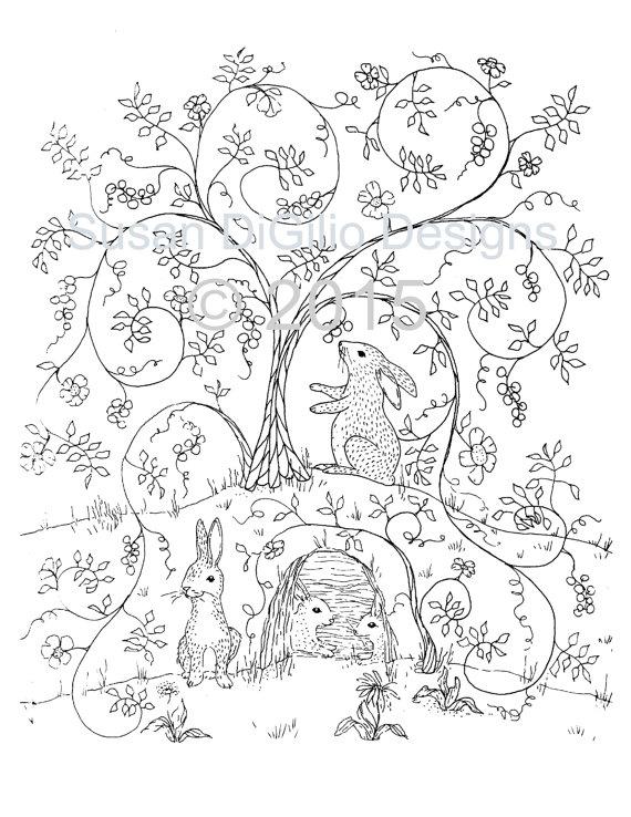 570x738 Diy Wall Decor Printable Coloring Page Bunnies In