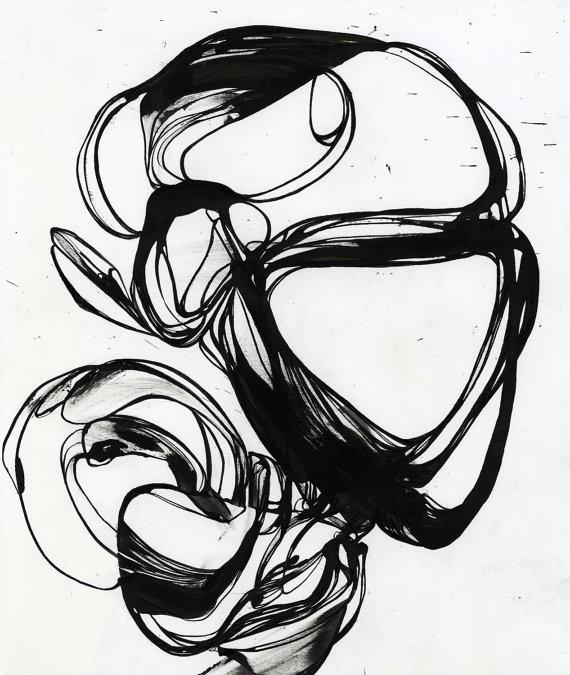 570x675 Fine Art Print Black Line Pen And Ink Ink Drawing Original