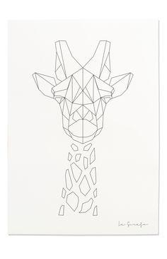236x366 Giraffe Print, Geometric Giraffe Print, Nursery Animal Wall Art