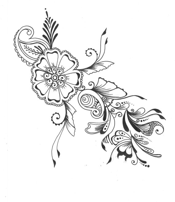 570x659 8x10 Art Print Henna Floral Design Ink Pen Drawing Wall Art