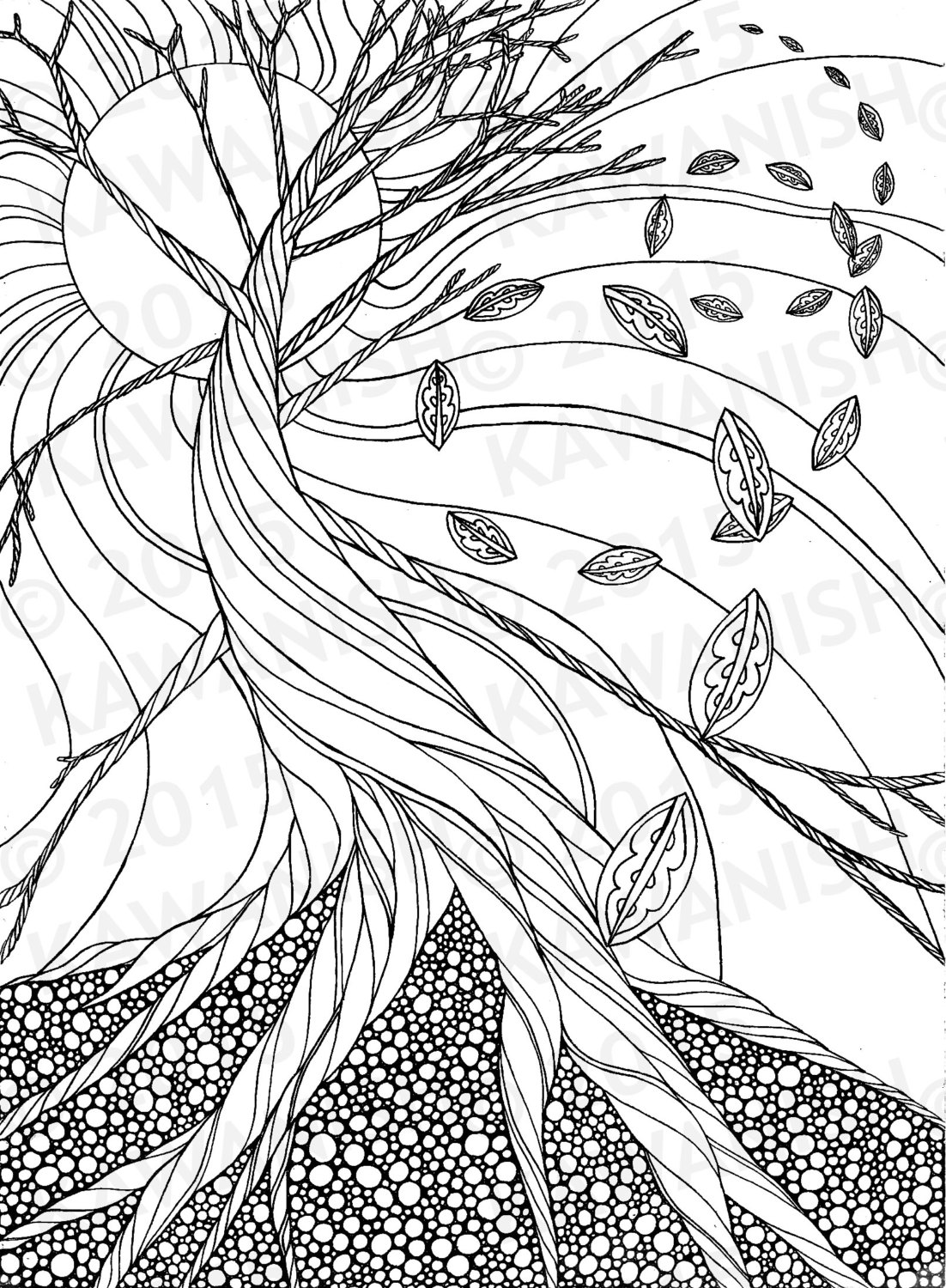 1102x1500 Dead Tree Autumn Zentangle Adult Coloring Page Gift Wall Art