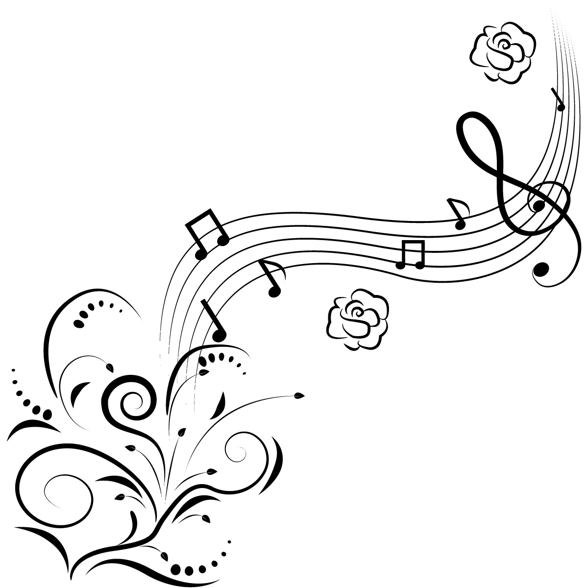 1200x1200 Cool Music Design Drawings Music Notes Clip Art Music Notes