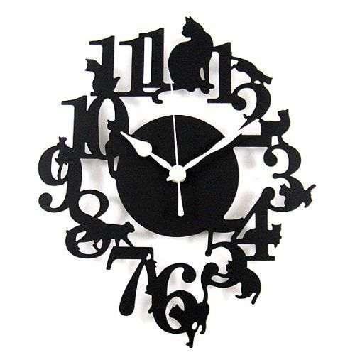 500x500 Kc02 Black Cat Silhouette Wall Clock Movement Made In Japan Cat