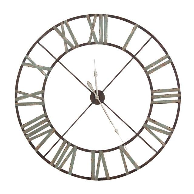 640x640 Large Aged Wrought Iron Clock