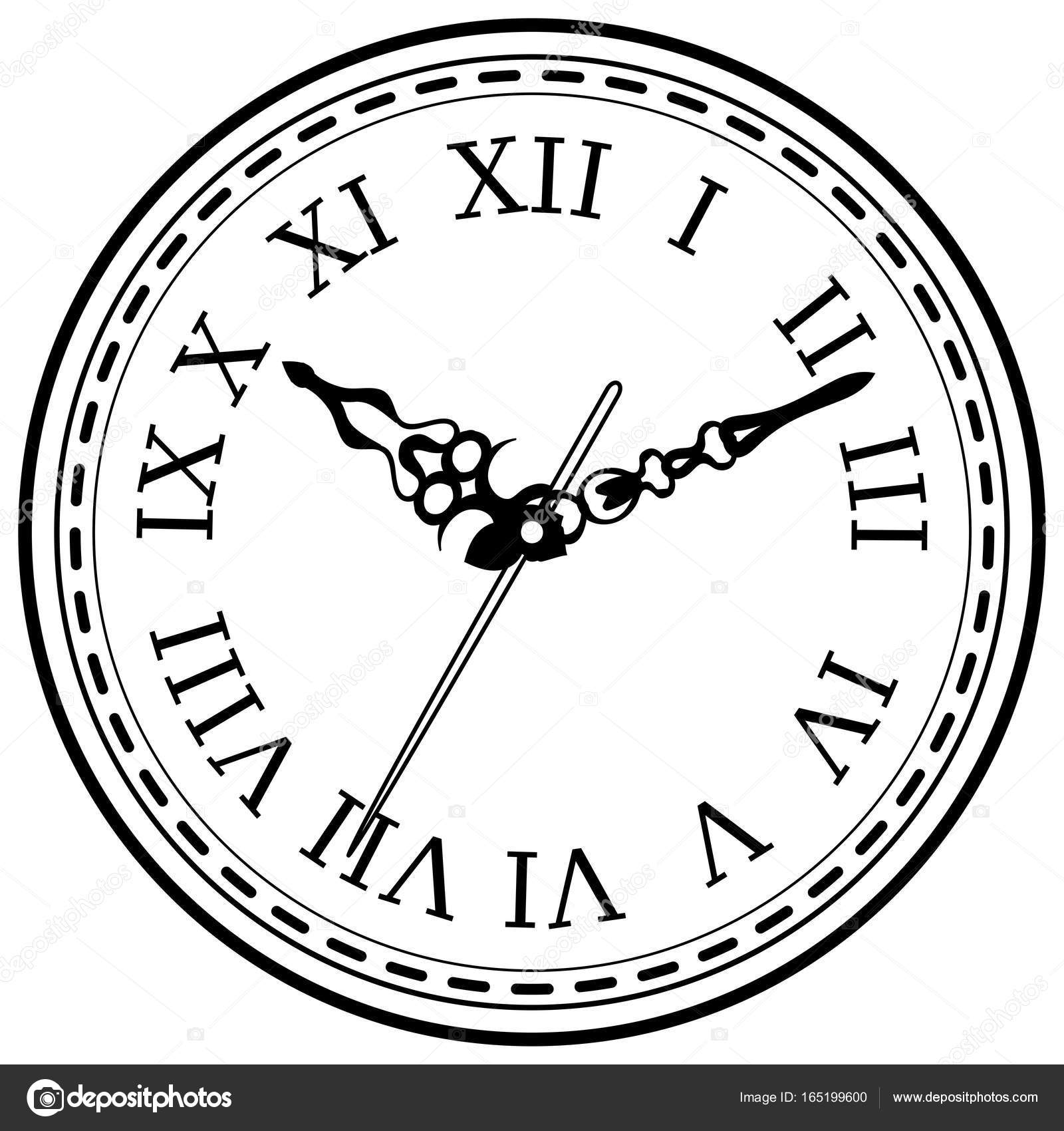 1600x1700 Vintage Clock Hand Drawn Sketch Isolated Stock Vector Tiverets