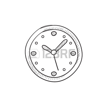 450x450 Wall Clock Vector Sketch Icon Isolated On Background. Hand Drawn