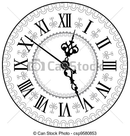 450x470 Antique Fireplace Clock Drawing