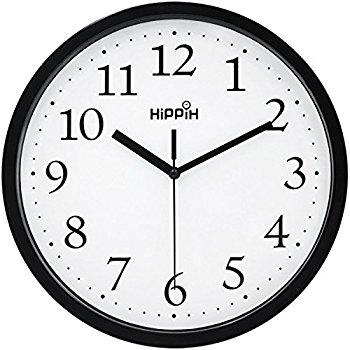 350x350 Hippih Black Wall Clock Silent Non Ticking Quality