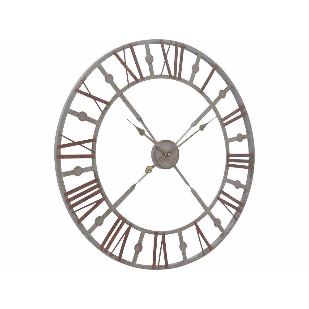 1000x1000 Antiqued Rusty Grey Skeleton Wall Clock Annie Mo'S