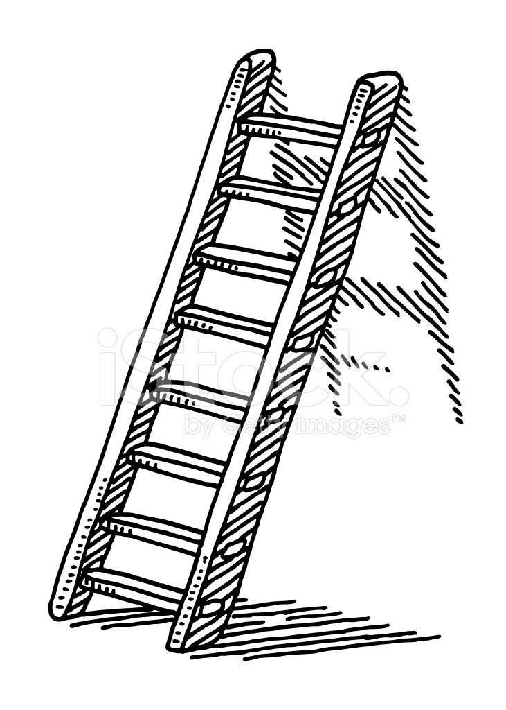 731x1024 Ladder On A Wall Drawing Stock Vector