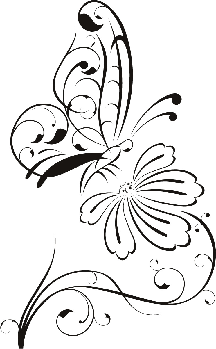 744x1200 Simple Drawing Of Flowers And Butterflies