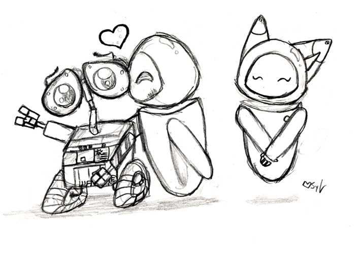 711x500 Wall E And Eve Chibis By Sylviene