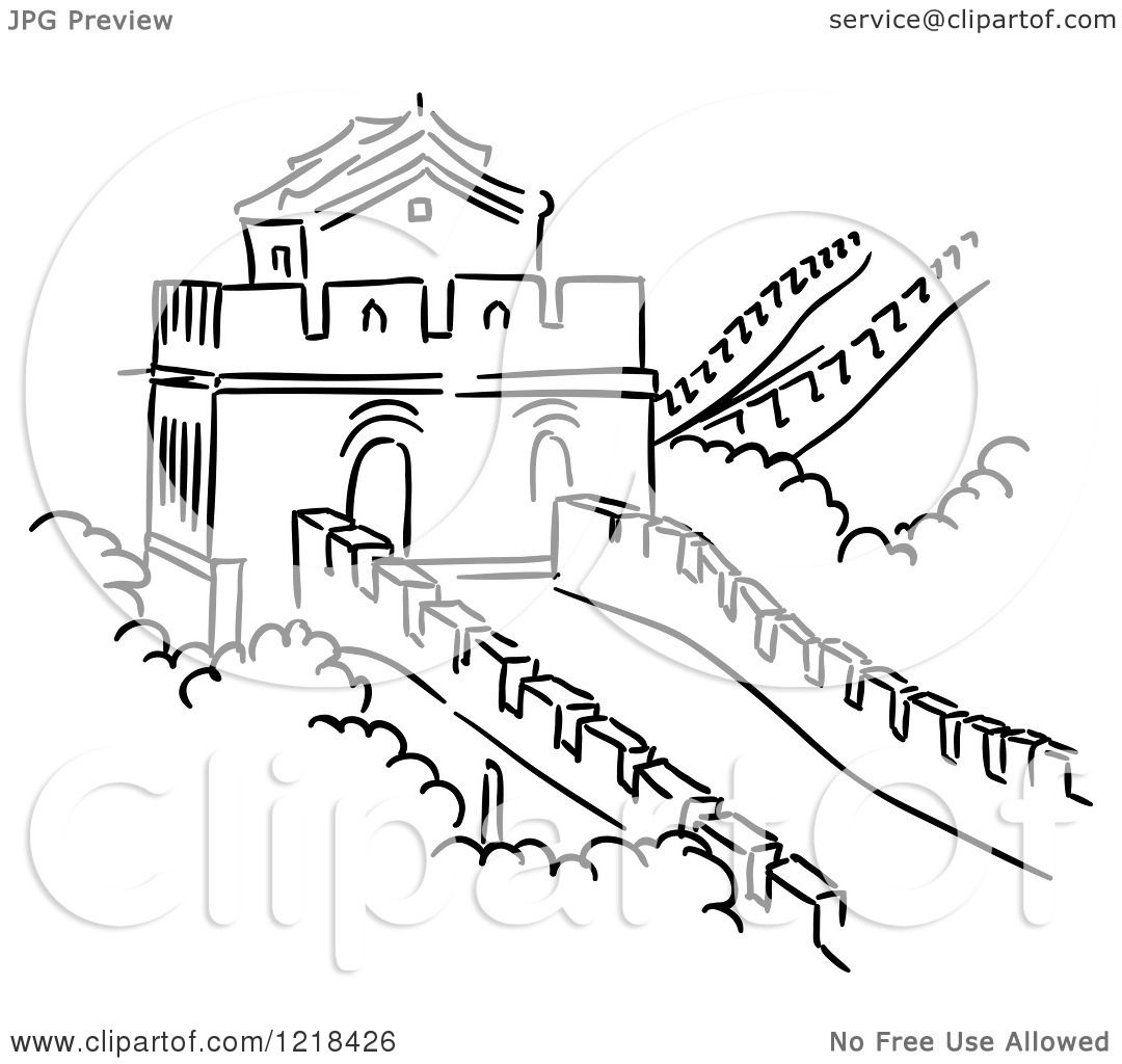 1080x1024 Clipart Of A Black And White Sketch Of The Great Wall Of China