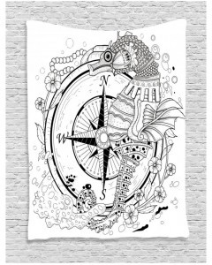240x300 Drawn Tapestry Seahorse Compass Printed Wall Hanging