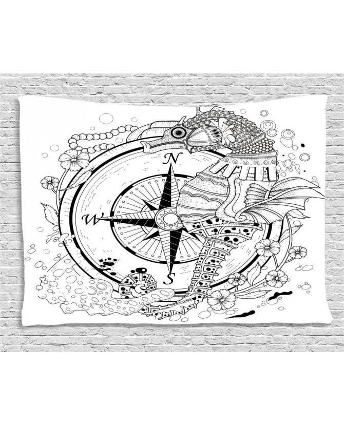 670x830 Drawn Wide Tapestry Seahorse Compass Printed Wall Hanging