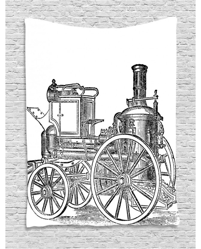 670x830 Engine Tapestry Old Fireman Truck Printed Wall Hanging