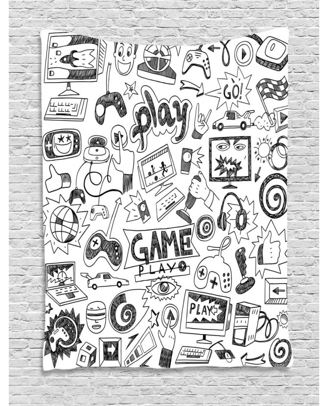 670x830 Games Tapestry Black And White Printed Wall Hanging