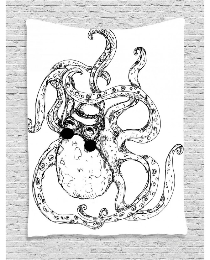 670x830 Tapestry Hipster Animal Sketch Printed Wall Hanging