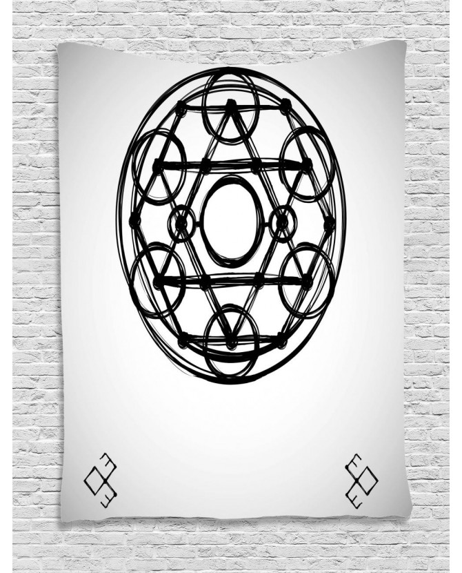 670x830 Tapestry Sacred Geometry Sketch Printed Wall Hanging