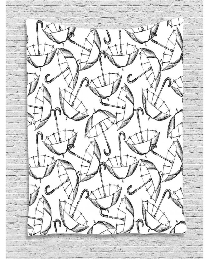 670x830 Tapestry Sketch Of Umbrellas Art Printed Wall Hanging