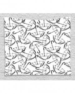 240x300 White Tapestry Sketch Of Umbrellas Art Printed Wall Hanging