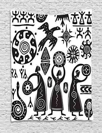 344x450 Tribal Tapestry Wall Hanging By Ambesonne, Dancing