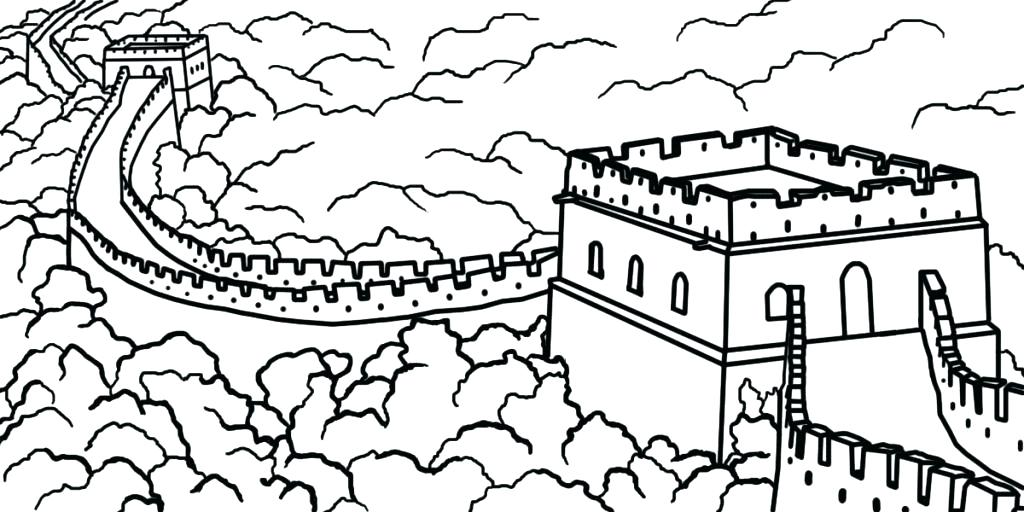 1024x512 Coloring Pages Great Wall Of China Page Dragon Free Murs