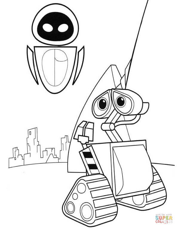 599x770 Wall E Meets Eva Coloring Page Free Printable Coloring Pages