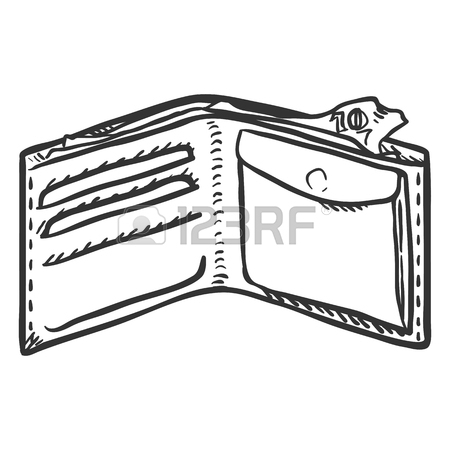 450x450 Single Cartoon Brown Leather Wallet. Royalty Free Cliparts
