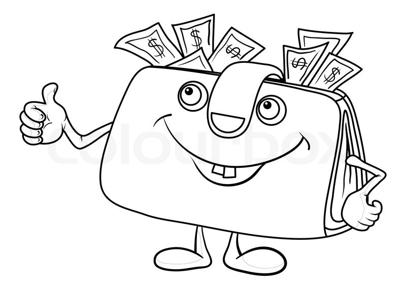 800x570 Smiling Wallet With Dollar Bills Showing Thumbs Up, Contours