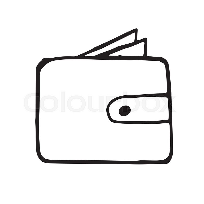 800x800 Vector Wallet Doodle Drawing, Hand Drawn Illustration Stock