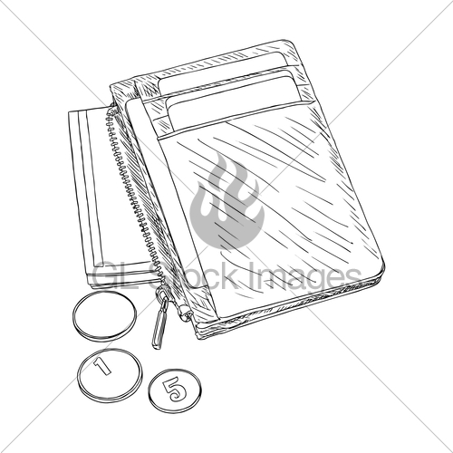 500x500 Wallet With Money And Credit Cards Vector. Gl Stock Images