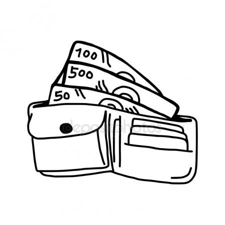 450x450 Vector Illustration Hand Drawn Sketch Of Leather Wallet