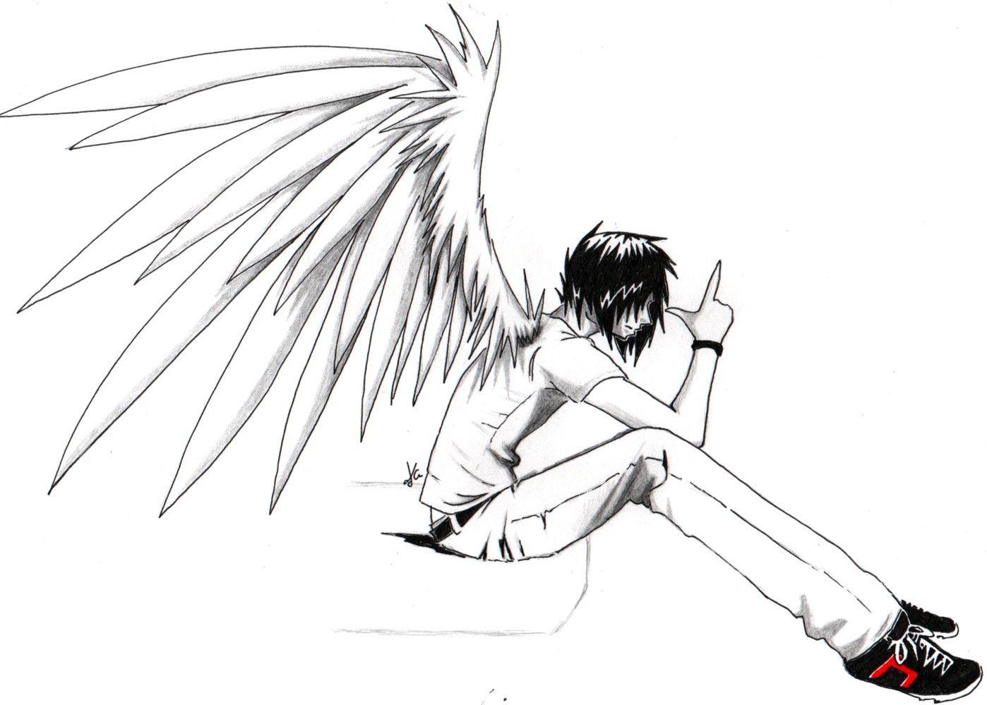 1398x999 Anime Drawings Emo Anime Angel Boy, Anime Love Couples , Anime