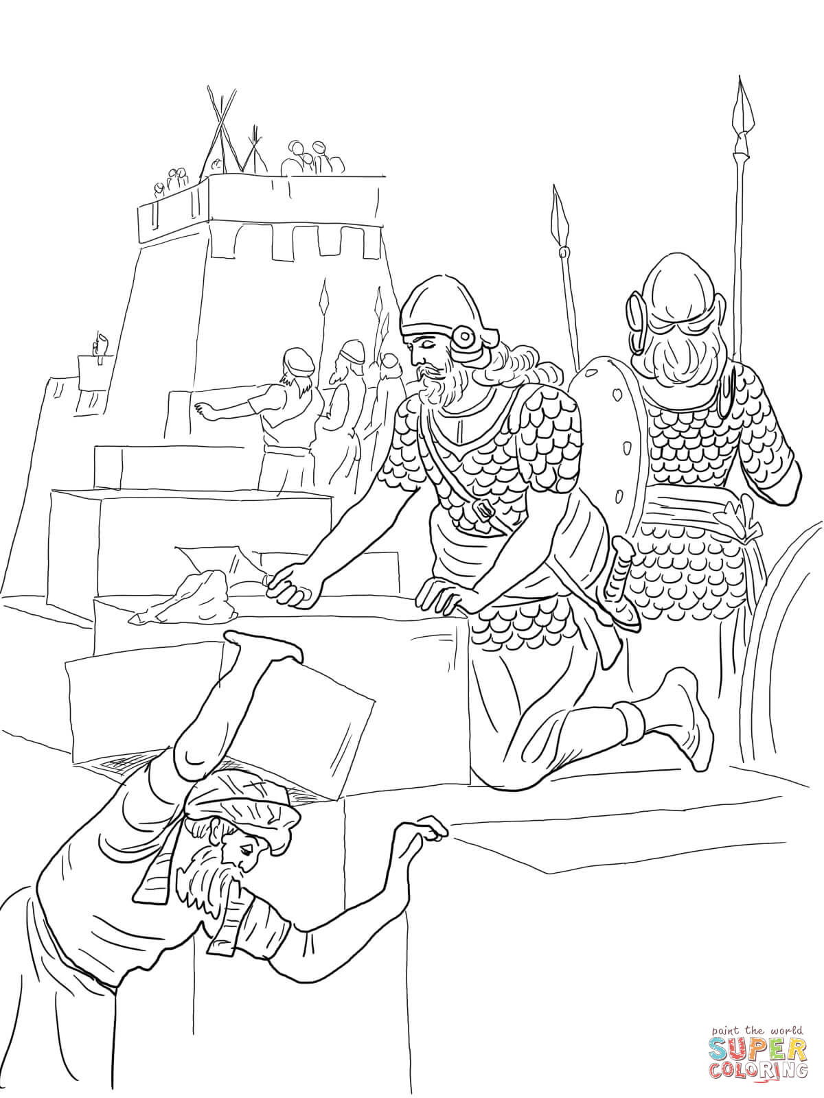 1200x1600 Nehemiah Builds The Walls And Tower Of Jerusalem Coloring Page